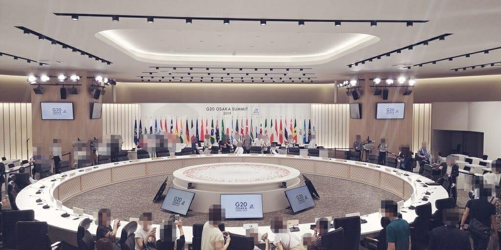 首脳会議場2階中央からの光景