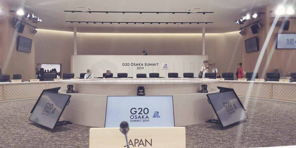 G20大阪サミット 日本首脳席