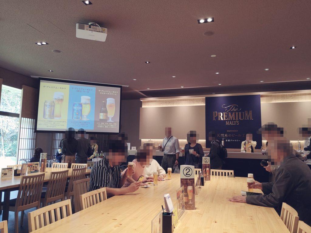 サントリー京都ブルワリーでビールを楽しむ人々